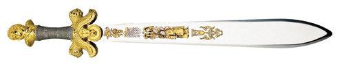 Espada de baco ideal para ceremonias con todo lujo de detalles en cuanto a su ornamentación.