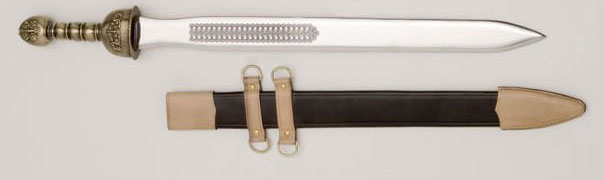 Espada romana gladius con vaina de cuero