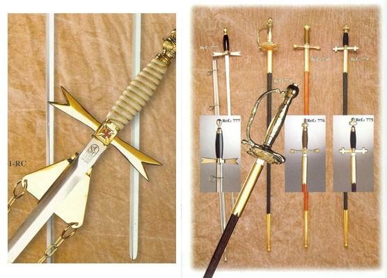 Espadas ceremoniales masónicas, para bodas, espadines ejércitos