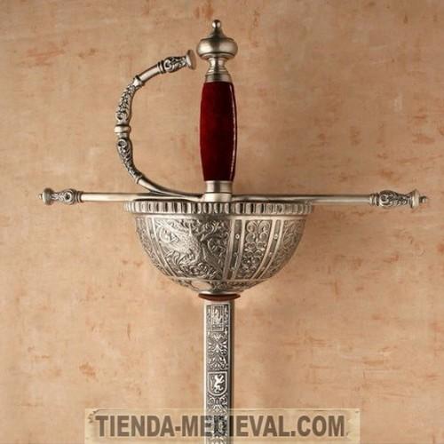 espada carlos v de cazoleta en plata 500x500 custom - Espadas Carlos V