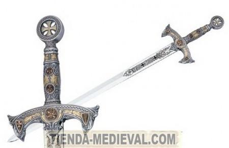 Espada de los Templarios en plata 450x292 - Espada de Hugo de Payens