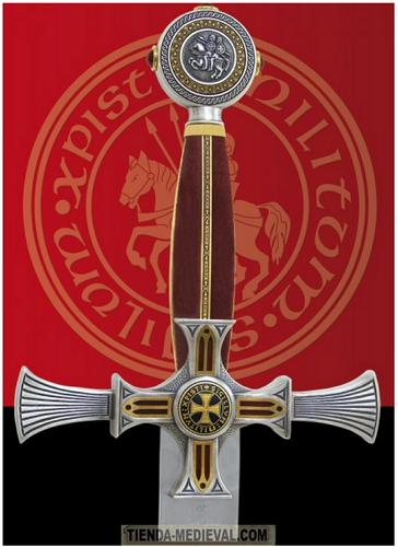 Espada templaria damasquinada - Espadas con acabado rústico