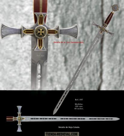 Espada templaria damasquinada1 411x450 - Espada templaria damasquinada
