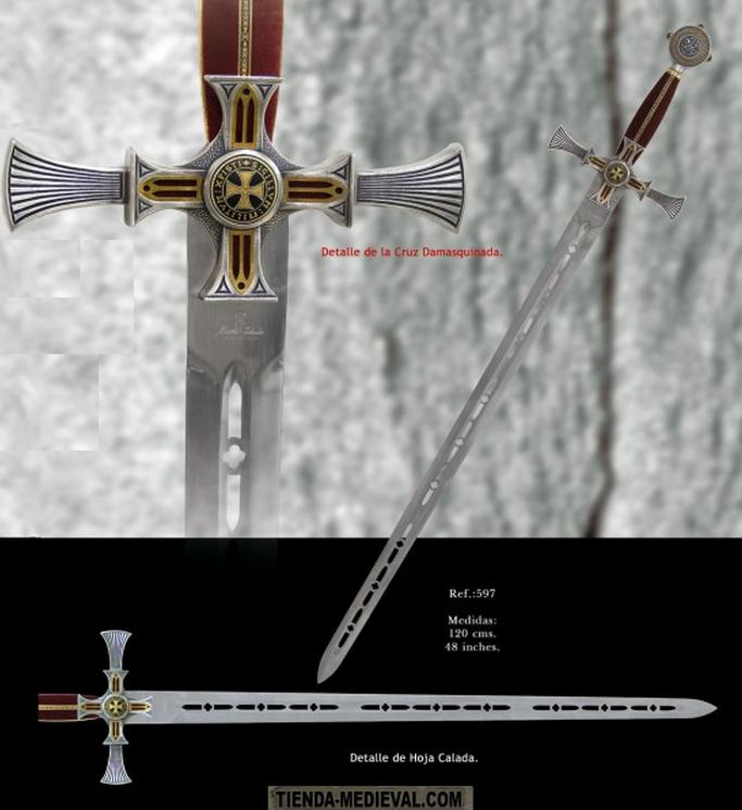 Espada templaria damasquinada1 - Espada templaria damasquinada