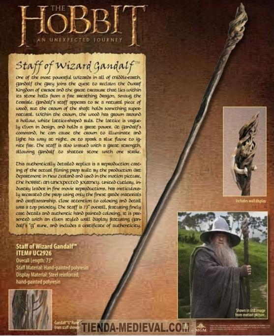 BASTÓN ORIGINAL DE GANDALF DEL HOBBIT - Espadas de El Señor de los Anillos con Licencia