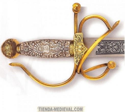 DETALLE CALIZ PUÑO ESPADA PRIMERA COMUNIÓN 490x439 custom - Las Espadas del Cid Campeador usadas en Bodas y Comuniones