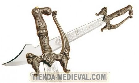 ESPADA ALFANGE EN PLATA 450x268 - Las Espadas Árabes