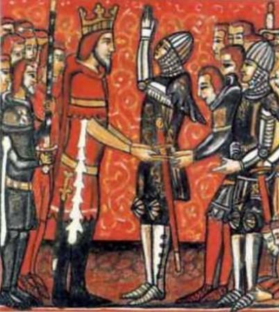 Roldán jurando fidelidad a Carlomagno 402x450 - Espada Durandal de Roldán