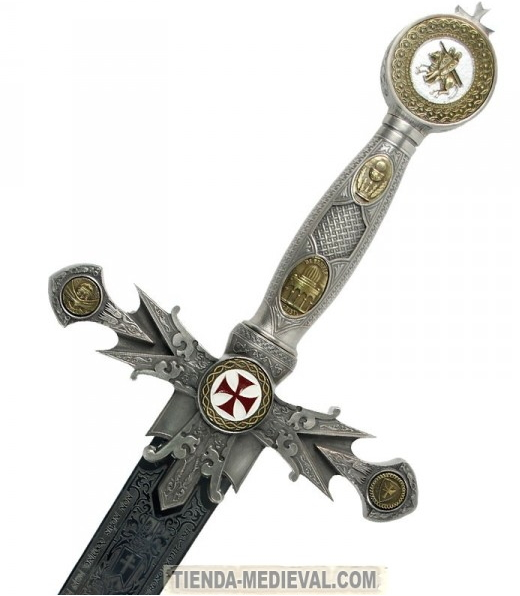 ESPADA TEMPLARIA DECORADA1 - Me fascinan las espadas históricas, templarias, masónicas y escocesas