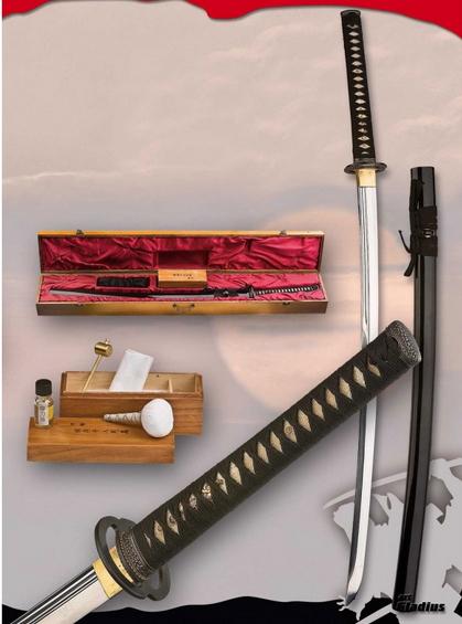 Katana práctica básica hoja acero al carbono con estuche y kitt de limpieza