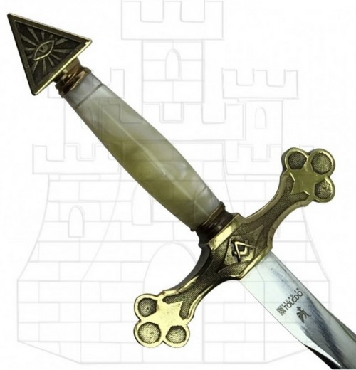 Espada Logia Masónica flamígera empuñadura - Espada Logia Masónica Flamígera