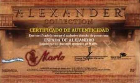 Certificado Espada de Paseo Alejandro Magno 450x267 - Certificado Espada de Paseo Alejandro Magno