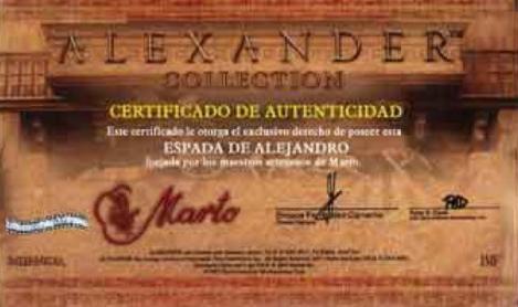 Certificado Espada de Paseo Alejandro Magno