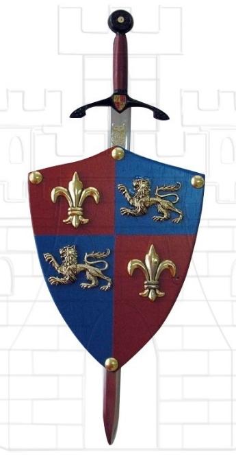 Mini escudo Príncipe Negro con mini espada - Espada de Eduardo de Woodstock, El Príncipe Negro