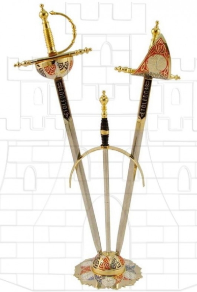 Set 2 mini espadas Renacimiento con soporte - Miniespadas Renacentistas Damasquinadas