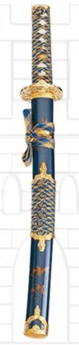 Wakizashi vaina azul oro 163x675 - La Wakizashi Japonesa