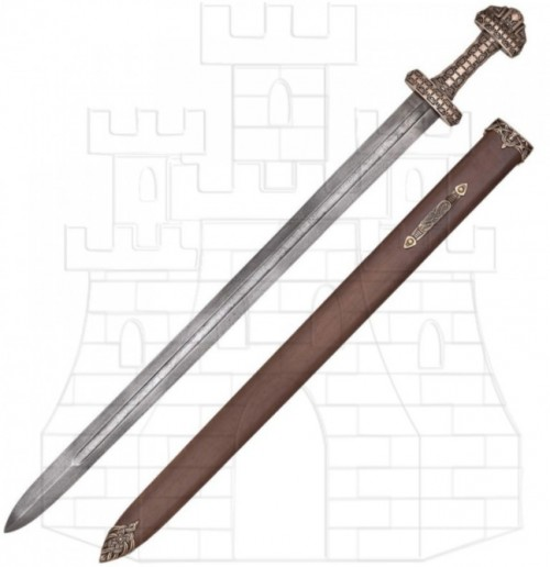 Espada Vikinga isla Eigg Acero Damasco - Wakizashi Táctico Honshu Damasco negro