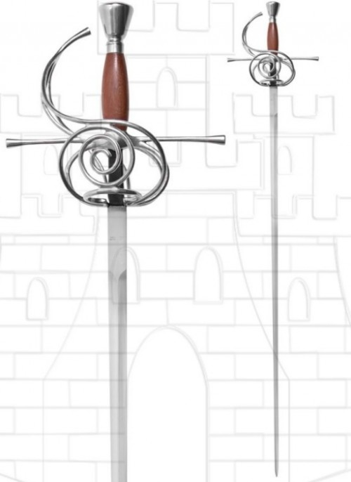 Espada Rapiera funcional empuñadura madera - Espadas rapieras o roperas de taza y de lazo