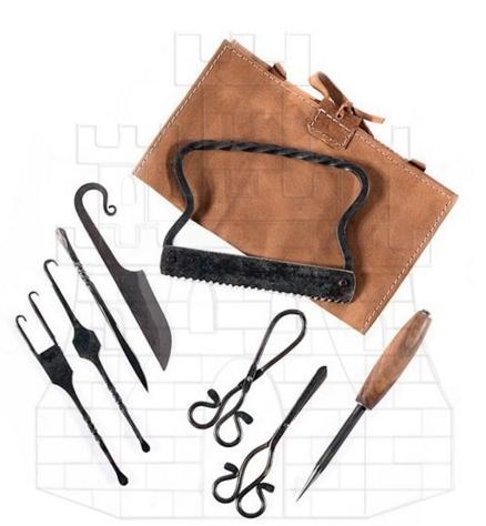 Set Quirúrgico medieval - Cuchillos medievales forjados a mano