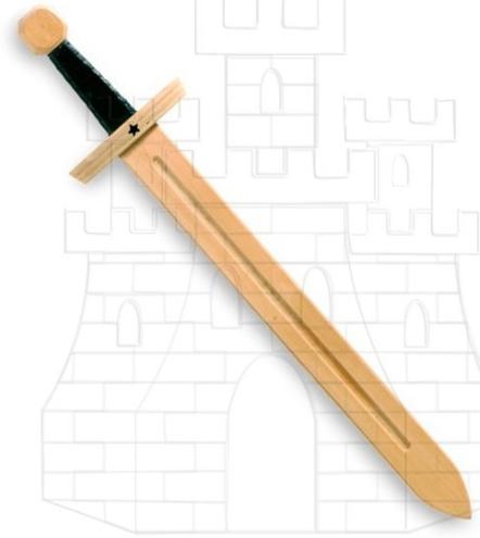 Espada madera Caballero Estrella 1 - Espadas de madera y latex para niños