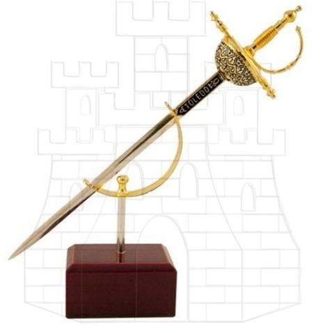 Miniatura Espada Cazoleta Damasquinada 477x478 - Miniatura Espada Cazoleta Damasquinada