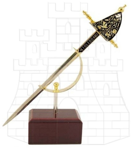 Miniatura daga Renacimiento damasquinada - Miniespadas Renacentistas Damasquinadas