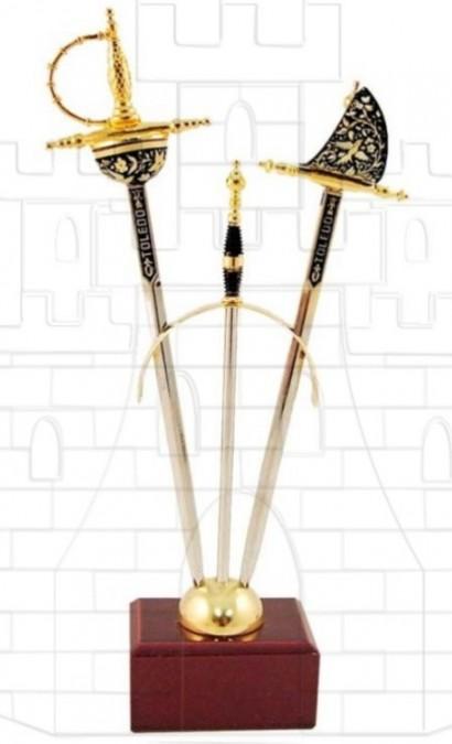 Set 2 mini espadas Renacimiento damasquinadas 1 412x675 - Set 2 mini espadas Renacimiento damasquinadas