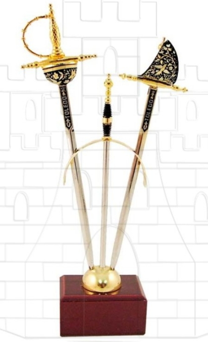 Set 2 mini espadas Renacimiento damasquinadas - Miniespadas Renacentistas Damasquinadas