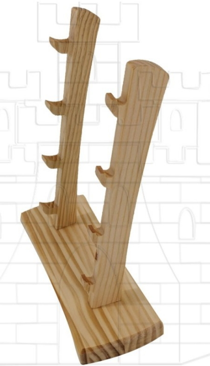 Expositor madera para tres navajas - Navajas Caballeros Templarios