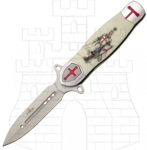 Navaja caballero templario blanca - Navajas Caballeros Templarios