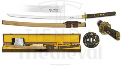 Katana hoja acero Damasco con caja funda kit de limpieza y tsubas - Espadas, sables y katanas marca Toledo Imperial