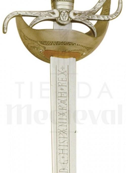 Espada Carlos III Dorada - Espada Carlos III Dorada con grabados