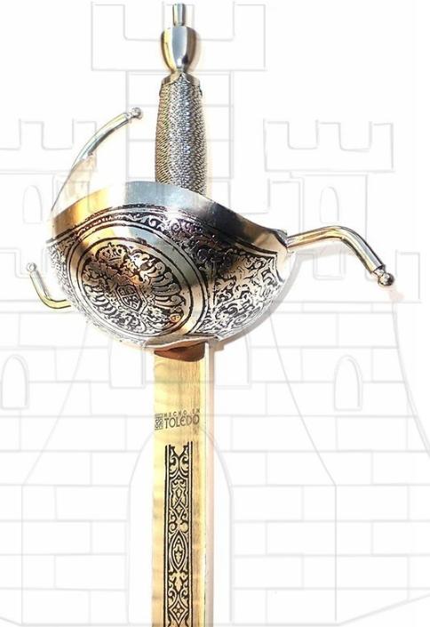 Espada Rey Carlos III - Espada Carlos III Dorada con grabados