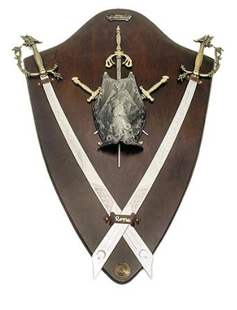 Panoplia escudo y cimitarras - Panoplias para espadas, sables y katanas