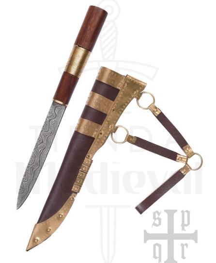 Cuchillo Seax Damasquino - Cuchillos Vikingos Seax acero de Damasco