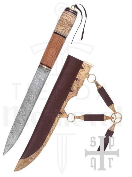 Cuchillo Vikingo Acero de Damasco - Cuchillos Vikingos Seax acero de Damasco